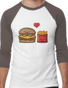 Burger and Fries Men's Baseball ¾ T-Shirt