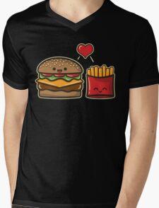 Burger and Fries Mens V-Neck T-Shirt