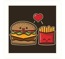 Burger and Fries Art Print
