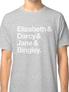 Elizabeth and Darcy and Jane and Bingley. (Pride and Prejudice) White Helvetica Classic T-Shirt