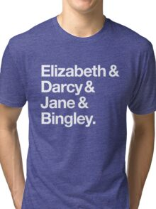 Elizabeth and Darcy and Jane and Bingley. (Pride and Prejudice) White Helvetica Tri-blend T-Shirt