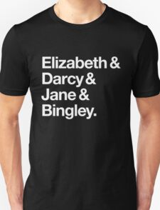 Elizabeth and Darcy and Jane and Bingley. (Pride and Prejudice) White Helvetica T-Shirt