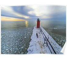 South Haven Lighthouse Ice Poster