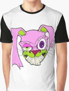 Crazy Bunny (Pink and Green) Graphic T-Shirt