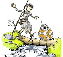 bb-8 and rey calvin and hobbes by tduffy