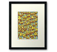 retro yellow mushrooms Framed Print
