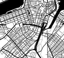 Boston Map - Black Inverted Sticker