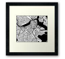 Boston Map - Black Inverted Framed Print