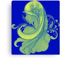 Blue and Yellow Glamor Girl Drawing Canvas Print