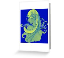 Blue and Yellow Glamor Girl Drawing Greeting Card