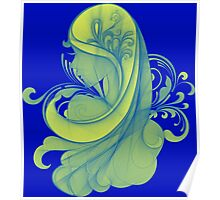 Blue and Yellow Glamor Girl Drawing Poster