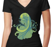 Blue and Yellow Glamor Girl Drawing Women's Fitted V-Neck T-Shirt