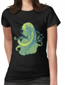 Blue and Yellow Glamor Girl Drawing Womens Fitted T-Shirt