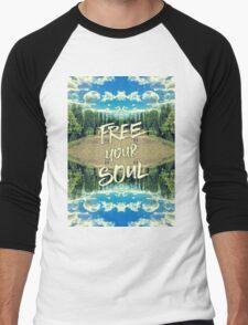 Free Your Soul Trianon Chateau Garden Versailles Paris Men's Baseball ¾ T-Shirt