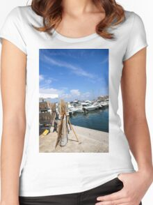 Saint-Tropez, France. Yacht club and Marina  Women's Fitted Scoop T-Shirt