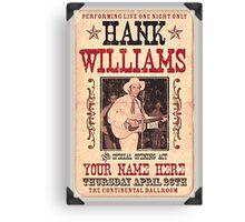 Hank Williams Ballroom Ticket Canvas Print
