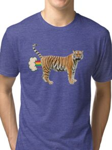 Giant Realistic Flying Tiger Tri-blend T-Shirt