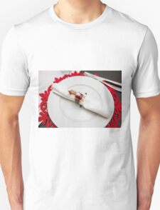 Christmas dinner table set and decorated with red and green  T-Shirt