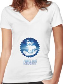Paint the Night - Second Star to the Right Women's Fitted V-Neck T-Shirt