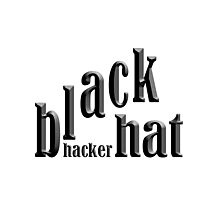 """black hat hacker"" typography Photographic Print"