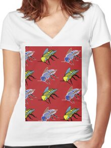 'Bees in red' design my LUCILLE Women's Fitted V-Neck T-Shirt