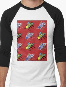 'Bees in red' design my LUCILLE Men's Baseball ¾ T-Shirt