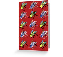 'Bees in red' design my LUCILLE Greeting Card