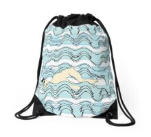 'Afternoon Swim' design by LUCILLE Drawstring Bag