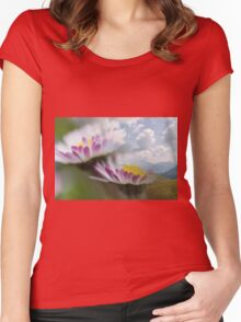 landscape rocky mountain and daisy Women's Fitted Scoop T-Shirt