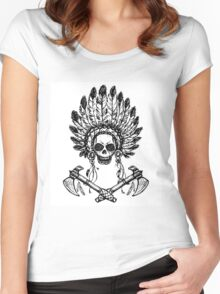 North American Indian chief with tomahawk Women's Fitted Scoop T-Shirt