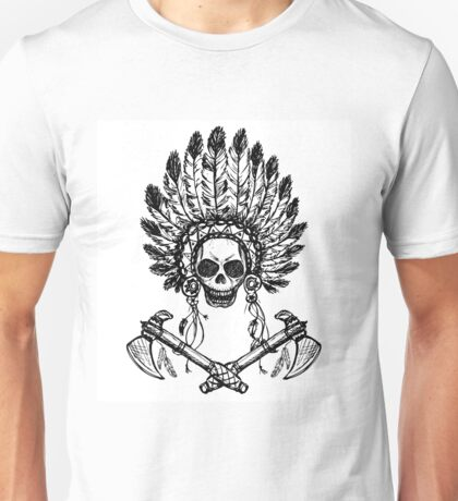North American Indian chief with tomahawk Unisex T-Shirt