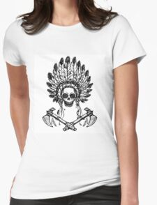 North American Indian chief with tomahawk Womens Fitted T-Shirt