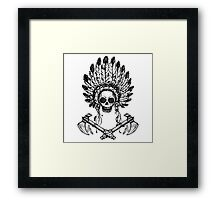 North American Indian chief with tomahawk Framed Print