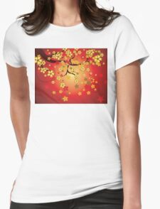 Decorative Sakura Background 2 Womens Fitted T-Shirt