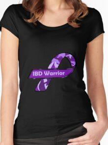 IBD Warrior camo Ribbon BLK Women's Fitted Scoop T-Shirt