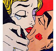 Kisses, tears, pop art romance, regrets Photographic Print