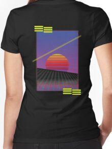 Retro Sunset Women's Fitted V-Neck T-Shirt