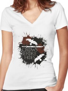 Crows Before Hoes - GoT Women's Fitted V-Neck T-Shirt