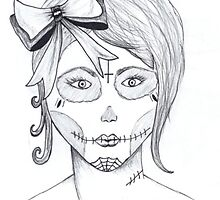 bow girl - sugar skull by Perggals© - Stacey Turner