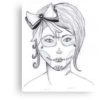bow girl - sugar skull Canvas Print