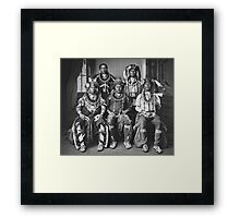 Oto delegation of five wearing claw necklaces and fur turbans. Framed Print