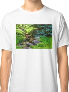 Impressions of Gardens - a Miniature Creek Through the Fresh Spring Green Classic T-Shirt