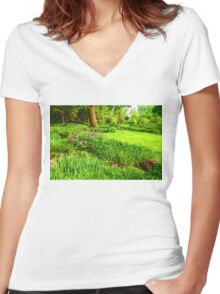Impressions of Gardens - Lush Green and Blooming Peonies Women's Fitted V-Neck T-Shirt