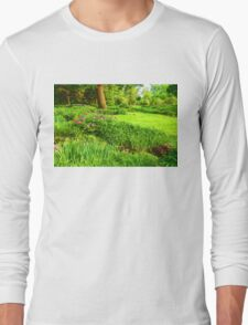 Impressions of Gardens - Lush Green and Blooming Peonies Long Sleeve T-Shirt