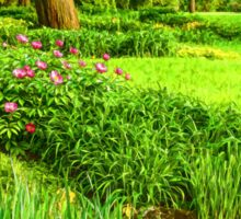 Impressions of Gardens - Lush Green and Blooming Peonies Sticker