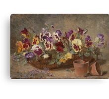Paul Claude Jance (Lyon  Pansies in a Willow Basket Canvas Print