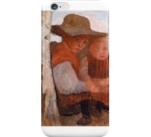 Paula Modersohn-Becker  Girl with Straw Hat and Child on her lap iPhone Case/Skin