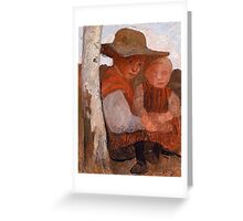 Paula Modersohn-Becker  Girl with Straw Hat and Child on her lap Greeting Card