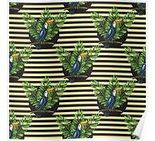 Toucan and banana leaves on the striped background Poster