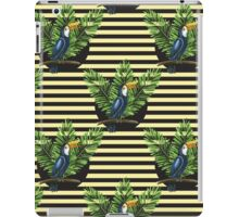Toucan and banana leaves on the striped background iPad Case/Skin